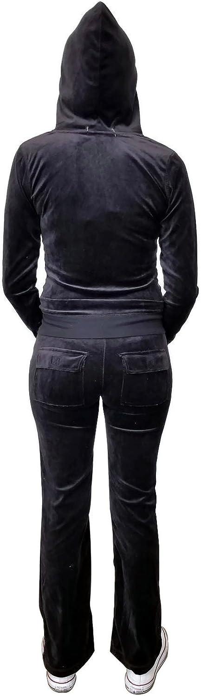 Instar Mode Women's Casual Basic Velour Terry Zip up Hoodie Sweatsuit