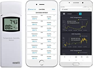 ECOWITT WH31 Multi-Channel Temperature and Humidity Sensor (1 Sensor) - Accessory Only, Can Not Be Used Alone