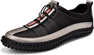 ML S HJDY Herren Sneakers, Komfortschuhe, Nappaleder, atmungsaktiv, Schwarz, Grau, 44