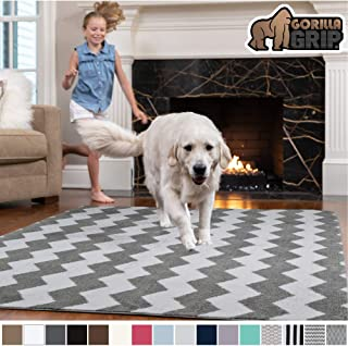 GORILLA GRIP Original Faux-Chinchilla Area Rug, 3x5 Feet, Super Soft and Cozy High Pile Washable, Modern Rugs, Luxury Shag Carpets for Home, Nursery, Bed and Living Room, Chevron: Light Gray and White