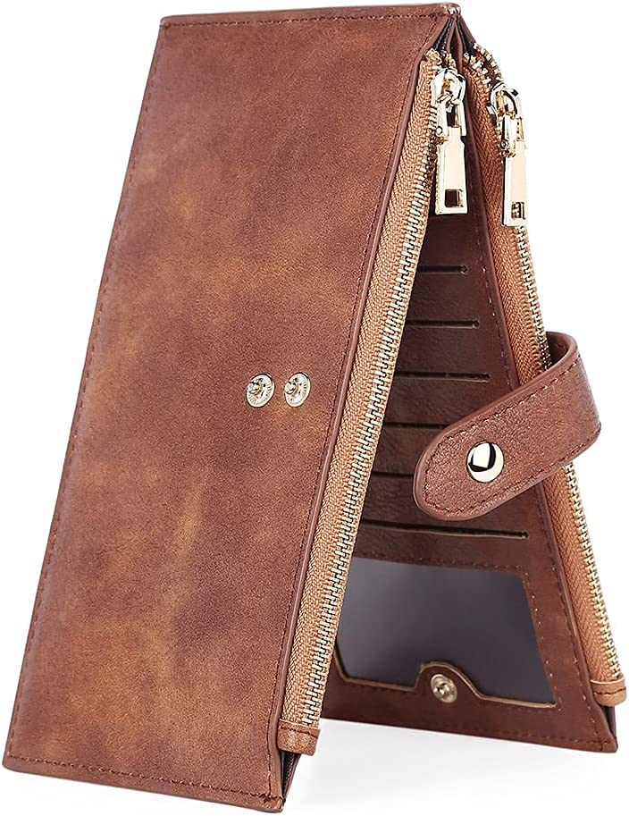 CLUCI Wallets for Women Leather Bifold Credit Card Holder Double Zipper Pocket Organizer Ladies Cell Phone Cluth Brown