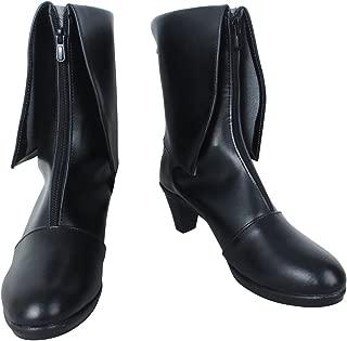 YuanCos Steins Gate Future Gadget Lab Kurisu Makise Girls Black Cosplay Shoes Boots