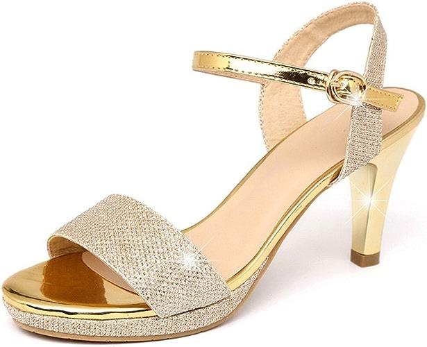 HBDLH Chaussures pour Femmes Les Sandales en Cuir Et en été Moyen 6 Cm Chaussures à Talons Hauts.