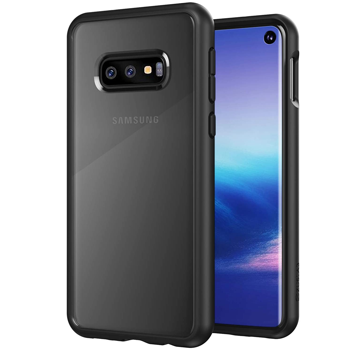ZUSLAB Tough Fusion Designed for Samsung Galaxy S10e Case Clear with Transparent Back Cover - Matte Black