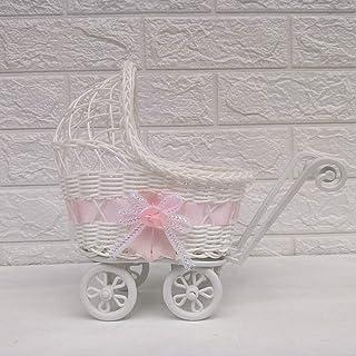 XZPZ Wicker Baby-Wagen-Kollektion, Kinderwagen Weidenkorb Hamper Lagerung mit Griffen Räder, Wohnungseinrichtung