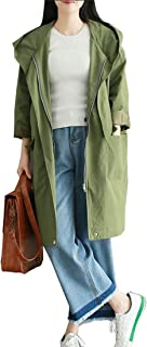 Cotton Long-Sleeved Coat Jacket with Hood Cardigan Spring and Autumn Student Commute Women's (Color : Olive, Size : L)