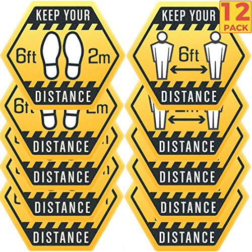 12 Pack 8-Inch High Visibility Social Distancing Floor Sticker Decals - Professional Anti-Slip, Waterproof 6 Feet Social Distancing Floor Signs - Removable, for Hard Floors Or Carpet