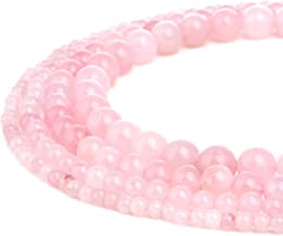 RUBYCA Natural Rose Quartz Gemstone Round Loose Bead Pink Crystal for Jewelry Making 1 Strand - 10mm