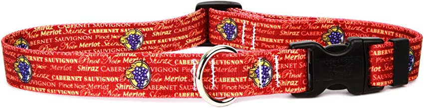 """Yellow Dog Design Red Wine Dog Collar, Medium-3/4"""" wide fits neck sizes 14 to 20""""/4"""" wide"""