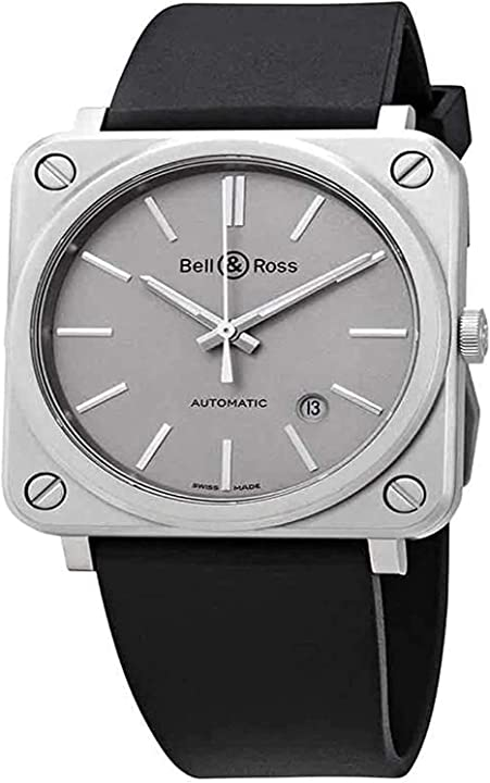 Orologio bell & ross aviation instruments br s-92 grigio opaco mens orologio automatico brs92-gr-st/srb