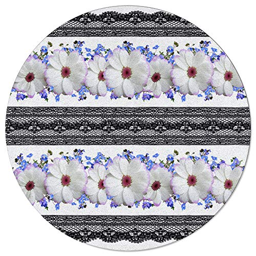 SunnyM Round Area Rugs Black Lace and White Daisy Soft Indoors/Living Room/Bedroom/Children Playroom/Kitchen Mats Flowers Floral Pattern Non Slip Rubber Backing Yoga Carpets 5 ft Diameter