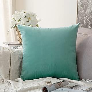 MIULEE Velvet Soft Soild Decorative Square Throw Pillow Covers Cushion Case for Sofa Bedroom Car 24 x 24 Inch 60 x 60 cm Aqua Green