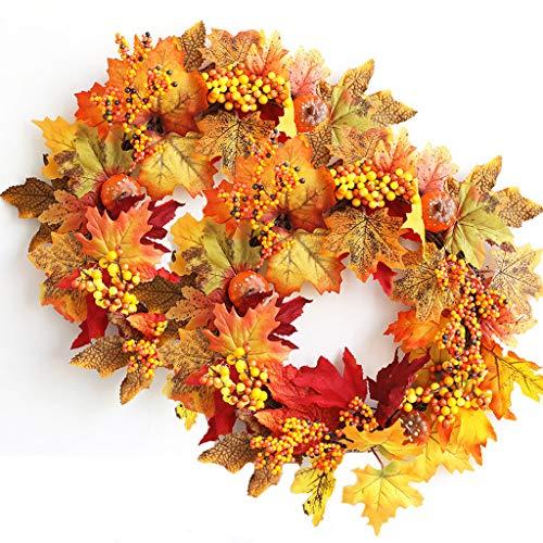 JMAR 2 Pcs Halloween Wreath Pumpkin Berry Maple Leaf Wreath Bar Rattan Props