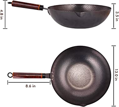 Carbon Steel Wok with Wooden Handle and Lid,using for Electric, Induction, Gas Stoves,6 Cookware Accessories,12.5 inch,Black