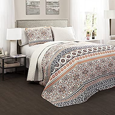 Lush Decor 3 Piece Nesco Quilt Set, King, Navy/Coral