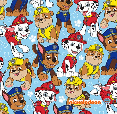 Paw Patrol Guys Blue Cotton Fabric by The Yard