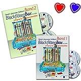 Flauta dulce caja banda 1+ 2–Flauta dulce Escuela de Daniel claro BACHMANN–con 4CD y 2colores de corazón Ordenador Pinza