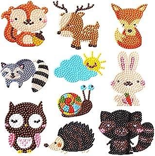 Diamond Painting Stickers, DELFINO for Kids DIY 5D Animal Diamond Art Mosaic Stickers By Numbers Kits 10 Pcs