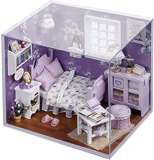 XYZMDJ miniatyrdockhus, trähandgjort dockor miniatyr gör-det-själv kit, tårta och solsken serie dockhus