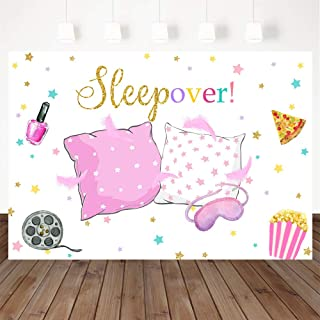 Mocsicka Sleepover Party Backdrop Sleepover Pajamas Pillow Fight Pink Girl Party Decorations Slumber Party Banner Photogra...