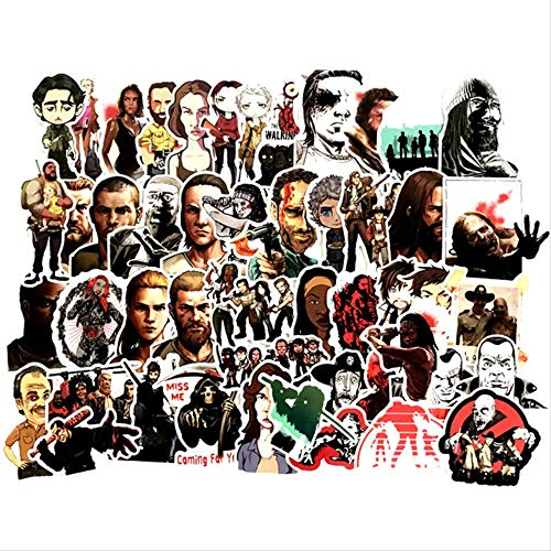 Hot TV Series The Walking Dead Pegatinas Vinly Toy Sticker The Phone Wall Decal para Laptop Skateboard Equipaje Decoración 50 Uds