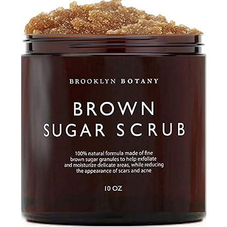 Brooklyn Botany Brown Sugar Body Scrub - Great as a Face Scrub & Exfoliating Body Scrub for Acne Scars, Stretch Marks, Foot Scrub, Great Gifts For Women - 10 oz