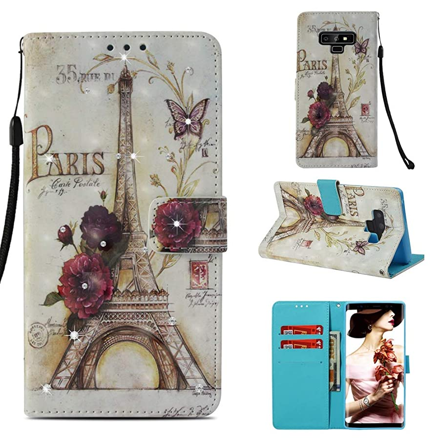 Galaxy Note 9 Diamond Case, Eiffel Tower Paris Pattern 3D Painted Crystal Folio Strap Wallet Case for Samsung Galaxy Note 9(2018 Release)