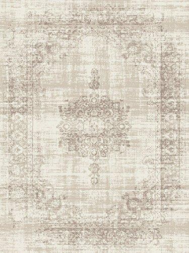 LIFA LIVING 80 x 150 cm Vintage Teppich für Wohnzimmer und Schlafzimmer, Wohnzimmerteppich mit Muster Orientalisch, Creme Beige, aus weicher Wolle