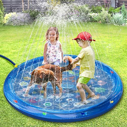 tomight Splash Pad, Sprinkler Play Matte 150CM Anti-Rutsch mit Schwimmendem Fisch,Sommer Wasser Garten Sprinklerpool Spielmatte für Outdoor für Baby, Kinder, Hund und Haustiere