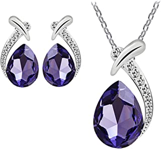 Trendy Jewelry Gift for Women Silver Plated Crystal Pendant Necklaces Crystal Fish Beauty Crystal Chain Necklace Stud Earring Jewelry 2Pcs/Set
