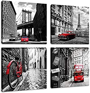 Black and White Cityscape Painting Artwork Brooklyn Bridge Eiffel Tower Italy Bicycle London Double Bus Canvas Picture Print Wall Art for Living Room