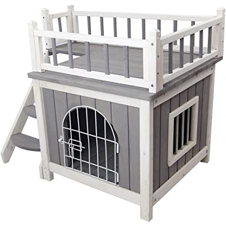 Petsfit Cat House Indoor Cat Kennels Wooden Dog House With Steel Lockable Door Indoor Cat House With Balcony Design Durable Grey Amazon Co Uk Pet Supplies