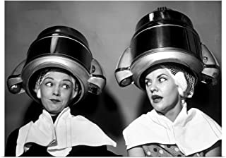 GREATBIGCANVAS Poster Print 1950s Two Women Sitting Together Gossiping Under Hairdresser Hair Dryer by Panoramic Images 48