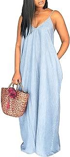 Womens Summer Spaghetti Strap Dresses Casual Denim Deep V Neck Loose Maxi Dress