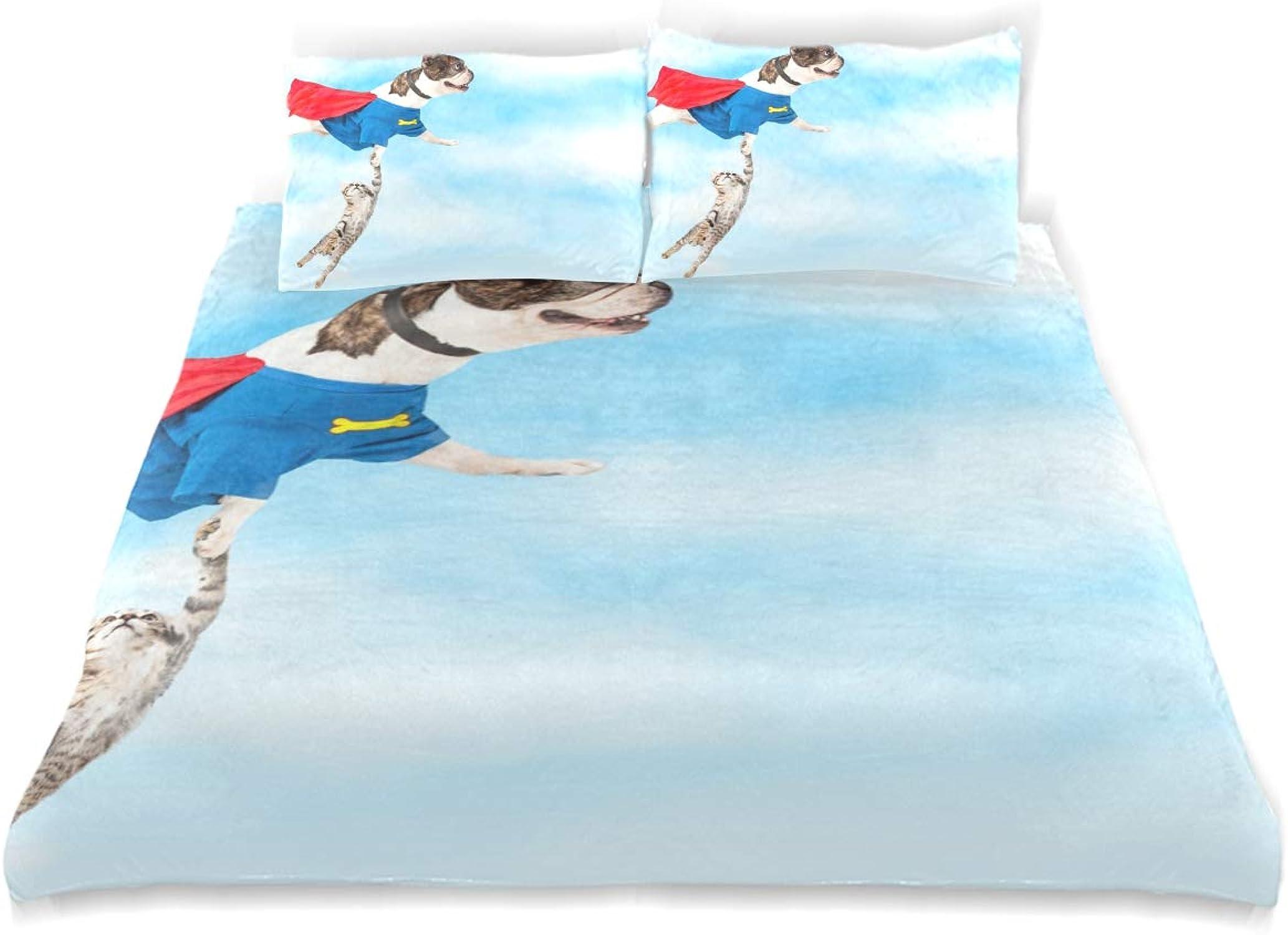 auténtico SUNOP Juego de Cama Cama Cama Completo de Franela de Franela 100% algodón Cepillado, Funda de edrojoón y 2 Fundas de Almohada, Juego de Cama, Super Hero Dog Flying  lo último