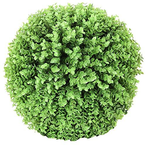 Flikool Seto Bola de Boj Artificial Eucalipto Escultura de Jardín Esfera Decorativa Bola del Poda Verde Hierba Arte de Recortar Plantas Artificiales - Verde 25cm