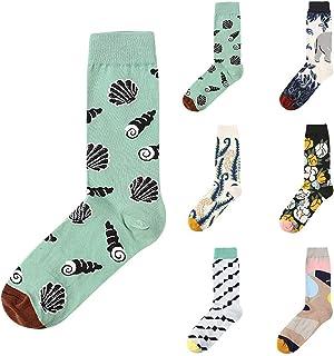 Calcetines de Algodón Calcetines Mujer Divertidos Estampados Calcetines Retro Dulce Simple Color Empalme Vestido Informal Calcetines Niños Verano de Pareja Invierno Primavera