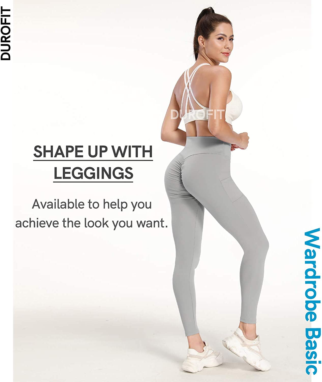 DUROFIT Mallas Deportivas Opacas Scrunch Butt para Mujer Pantalones Deportivos de Cintura Alta Mallas para Correr Abdominal Butt Push Up Leggins Deportivos para Entrenamiento de Yoga Gimnasio