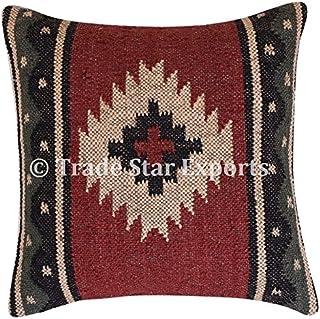 TRADE STAR EXPORTS Vintage Kilim funda de almohada, tejida a mano, yute cojín, Kelim almohadas decorativas, 18x 18manta funda de almohada Sham