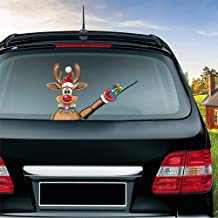MIYSNEIRN Christmas Reindeer Waving Gift Wiper Decal for Rear Window 3D Cartoon Festive Car Sticker Reusable Waterproof Vinyl Decal for Vehicle Rear Wipers Christmas Decoration (8)