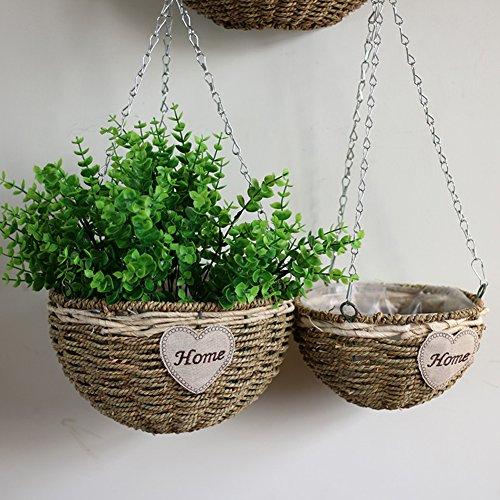 Seagrass trenzado colgante macetero cesta vintage hogar decorativo maceta redondo tejido maceta florero puerta balcón boda decoración de la pared, juego de 2