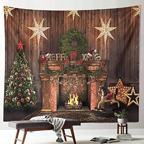 AdoDecor Nuevo Tapiz navideño decoración de Papá Noel Calico Pintura Colgante Colgante de Pared Tapiz de Vestir para el hogar de Vacaciones 150x110cm