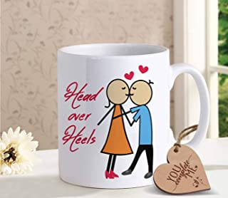 TIED RIBBONS Best Birthday, Anniversary Gift for Husband Wife - Romantic Gift for Him or Her - Coffee mug for Girlfriend Boyfriend with Wooden Tag