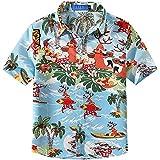 SSLR Big Boys' Santa Claus Party Tropical Ugly Hawaiian Christmas Shirts(X-Large(18-20), Blue(118-10))