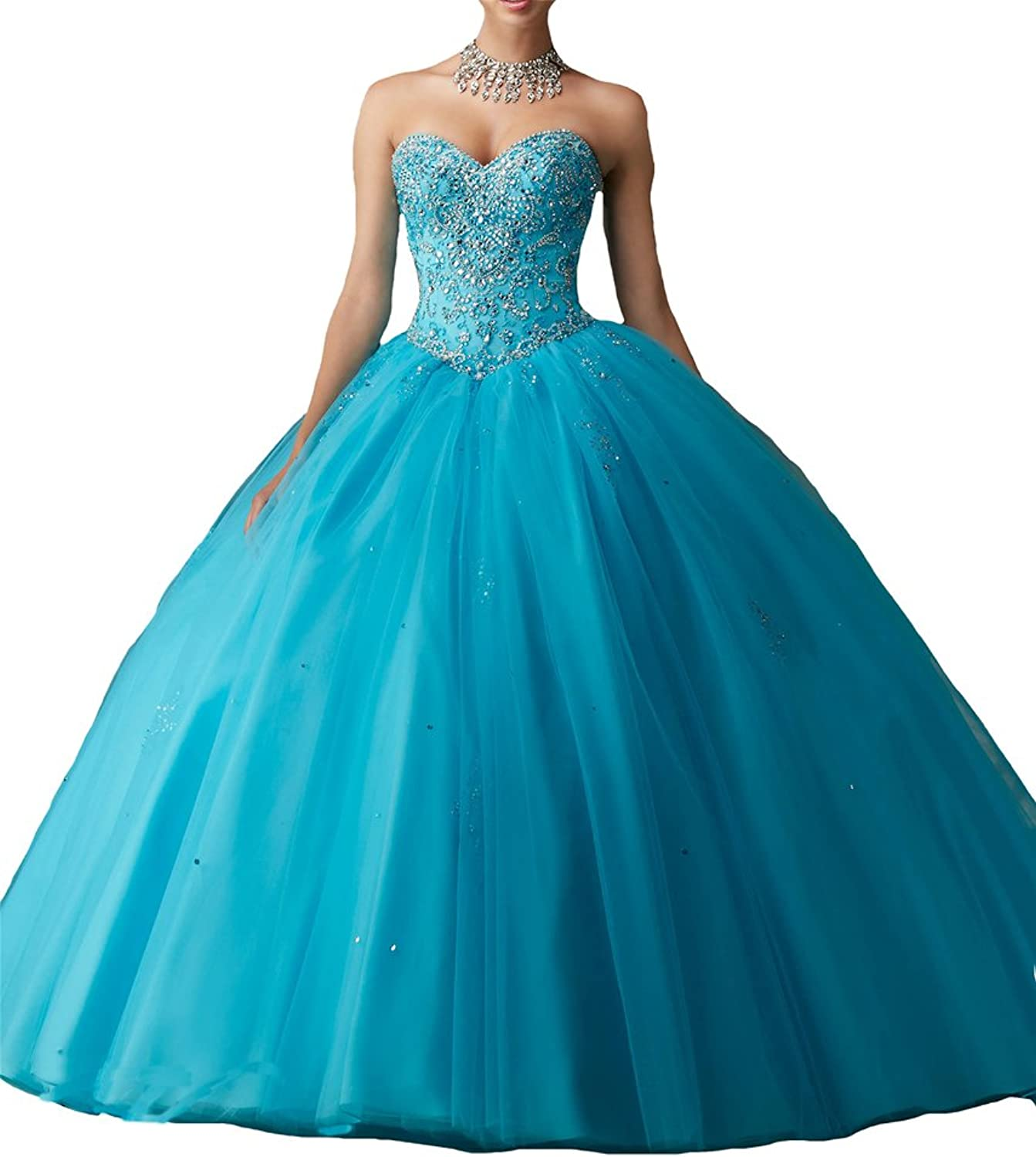 Yang Women Beaded Ball Gowns Girls Pageant Quinceanera Dresses Free Jacket