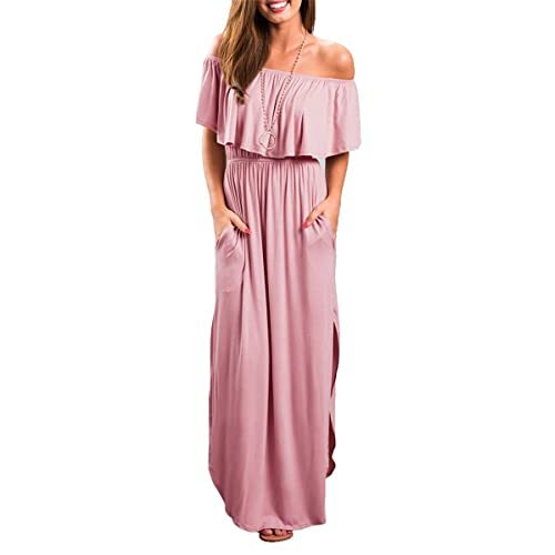 fc63be4703a38 MIDOSOO Womens Side Slit Off Shoulder Ruffled Long Maxi Dress with Pockets