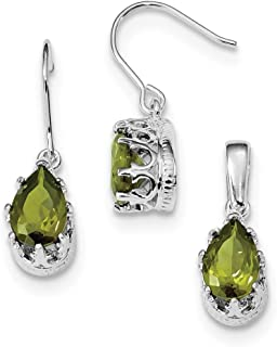 Sterling Silver Polished Shepherd hook Rhodium-plated Olivine Cubic Zirconia Earrings and Pendant Set