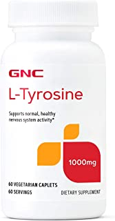 GNC L-Tyrosine 1000mg, 60 Vegetarian Caplets, Supports Normal, Healthy Nervous System Activity