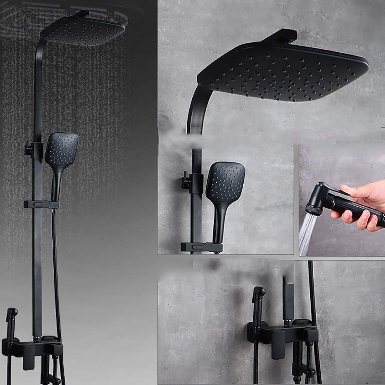 YYF-SHOWER Duschsystem Vintage Duschset, Messing- An Der Wand Montiert Hand Dusche Badezimmer Drehen Kalt-   Warmwasserhahn (Farbe   schwarz, Größe   B)