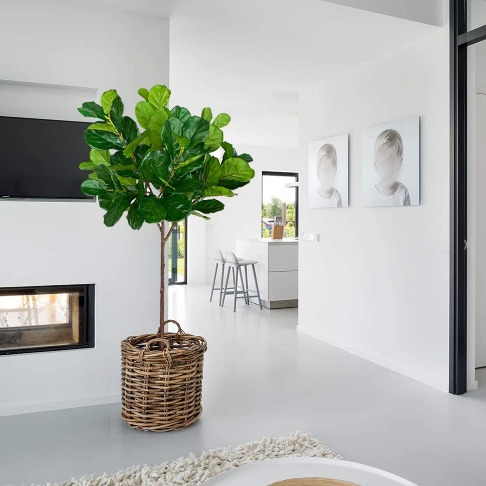 BESAMENATURE 4.5-feet Tall Artificial Fiddle Leaf Fig Tree//Faux Ficus Lyrata for Home Office Decoration